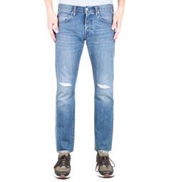 Edwin ED-55 Kingston Blue Denim 12 Oz Sandpiper Repair Wash Jeans