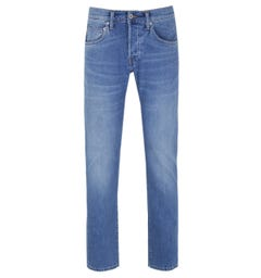 Edwin ED-55 CS Power Blue Denim Pacific Wash Regular Tapered Jeans
