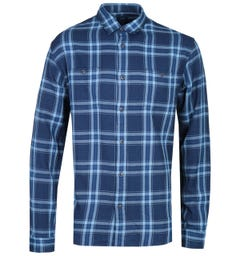 Edwin Dark Blue Checked Long Sleeve Labour Shirt