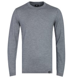 Edwin Merino Wool Grey Heather Crew Neck Sweater