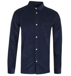 Edwin Minimal Long Sleeve Navy Corduroy Shirt