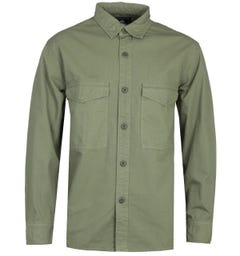 Edwin Big Patch Pocket Long Sleeve Khaki Green Shirt