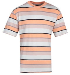 Edwin Quarter Cantaloupe Beige Stripes T-Shirt