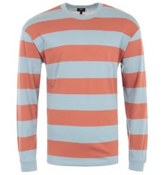 Edwin Quarter Rib Long Sleeve Stipe T-Shirt - Auburn & Arona