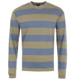 Edwin Quarter Rib Long Sleeve Stipe T-Shirt - Olive & Blue