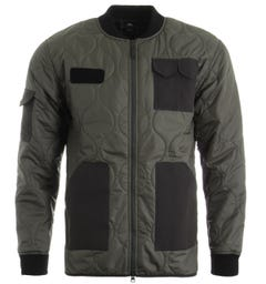 Edwin Military Quilted Bomber Jacket - Martini Olive