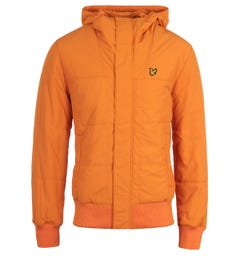 Lyle & Scott Risk Orange Quilted Bomber Jacket