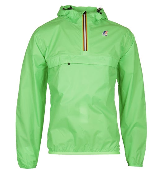 K-Way Leon 3.0 Green Fluo Waterproof Half Zip Mac