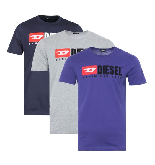 Diesel 3 Pack T-Just Division Logo T-Shirts - Mixed