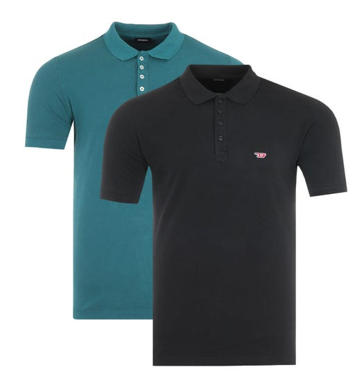 Diesel 2 Pack T-Night D Logo Polo Shirts - Black & Teal