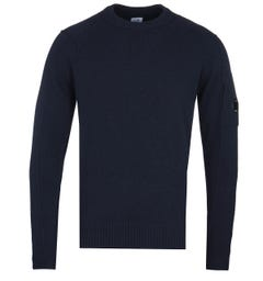 CP Company Arm Lens Navy Lambswool Sweater