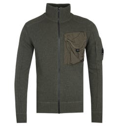CP Company Zip-Through Knitted Khaki Cardigan