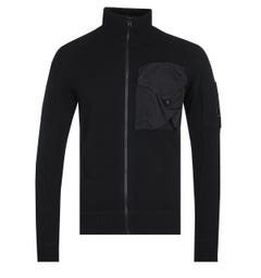 CP Company Zip-Through Knitted Black Cardigan