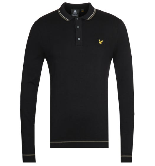 Lyle & Scott Twin Tipped True Black Knitted Long Sleeve Polo Shirt