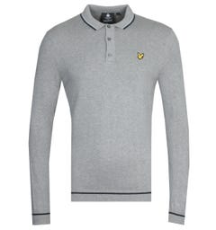 Lyle & Scott Twin Tipped Grey Marl Knitted Long Sleeve Polo Shirt