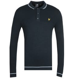 Lyle & Scott Twin Tipped Dark Navy Knitted Long Sleeve Polo Shirt