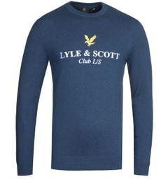 Lyle & Scott Club Long Sleeve Navy Knitted Sweatshirt