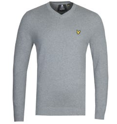 Lyle & Scott V-Neck Merino Cotton Grey Marl Sweater