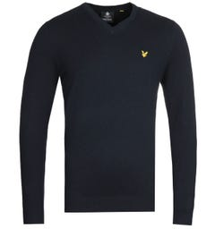 Lyle & Scott V-Neck Merino Cotton Dark Navy Sweater