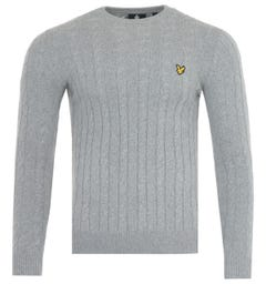 Lyle & Scott Wool Blend Cable Knit Sweater - Mid Grey Marl