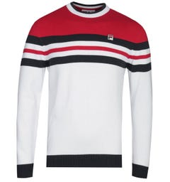 Fila Crew Neck Knitted Navy, White & Red Logo Sweater