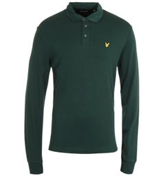 Lyle & Scott Jade Green Cord Collar Long Sleeve Polo Shirt