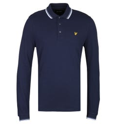 Lyle & Scott Long Sleeve Tipped Regular Fit Navy Polo Shirt