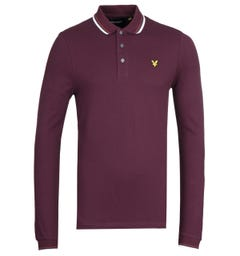 Lyle & Scott Long Sleeve Tipped Burgundy Polo Shirt