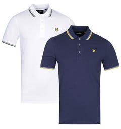 Lyle & Scott Two-Pack Slim Fit Tipped Navy & Yellow/White & Olive Polo Shirt