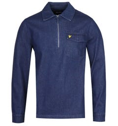 Lyle & Scott Quarter-Zip Indigo Blue Long Sleeve Shirt