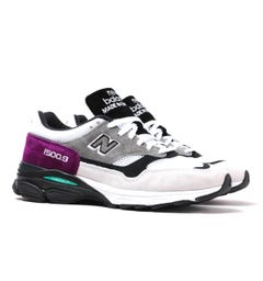 New Balance Made in England M1500 White With Purple & Grey Suede Trainers