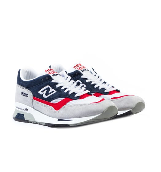 New Balance 1500 Made in England Grey, Navy & Red Suede Trainers