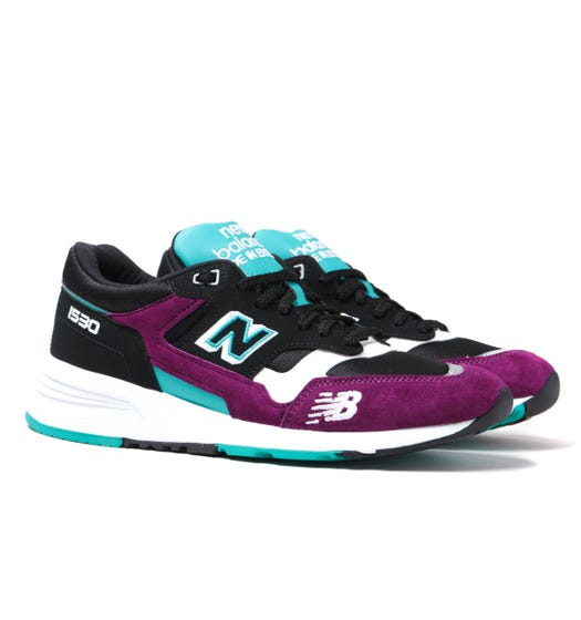 New Balance 1530 Made in England Black, Purple & Turquoise Suede Trainers