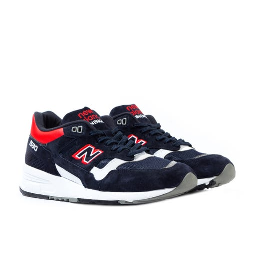 New Balance 1530 Made in England Navy & Red Suede Trainers