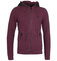 True Religion Taped Hood Port Red Zip-Through Hoodie