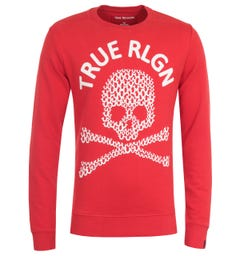 True Religion Skull Print Red Sweatshirt