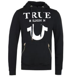 True Religion Puffy Print Black Pullover Hoodie
