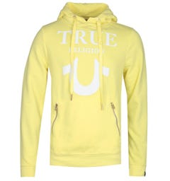 True Religion Puffy Print Yellow Pullover Hoodie