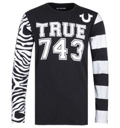 True Religion Long Sleeve Contrast Print Black T-Shirt