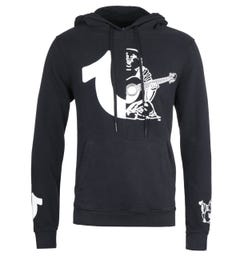 True Religion Split Logo Black Pullover Hoodie