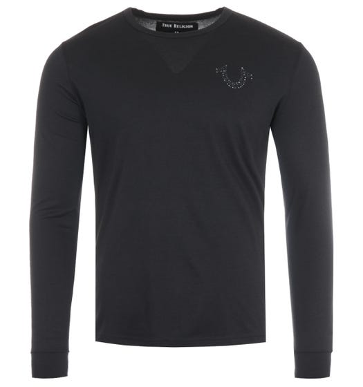 True Religion Stones Horseshoe Logo Long Sleeve T-Shirt - Black