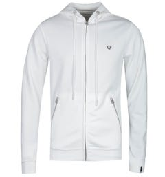 True Religion Horseshoe Logo Zip-Through White Hoodie