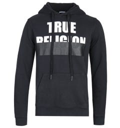 True Religion Embossed Logo Pullover Hoodie - Black