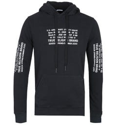 True Religion Military Print Black Pullover Hoodie
