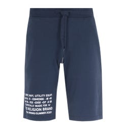 True Religion Military Print Navy Sweat Shorts