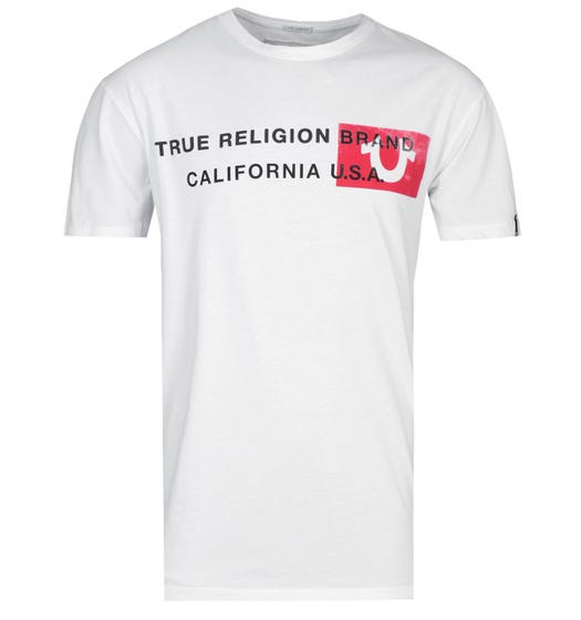 True Religion California U.S.A Horseshoe Logo White T-Shirt