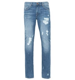 True Religion New Rocco Destroyed Jeans - Blue Denim