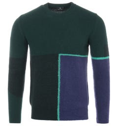 PS Paul Smith Wool Crew Neck Sweater - Green & Blue