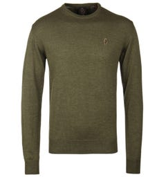 Luke 1977 Gerald 3 Khaki Cotton Knit Sweater