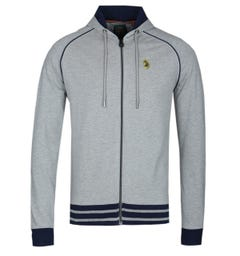 LUKE 1977 Mid Grey Stag Run Zip Up Hooded Sweatshirt